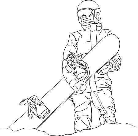 hold: Male snowboarder hold snowboard. Outline vector illustration