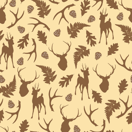 Autumn forest seamless pattern with deer silhouette. Vector illustration
