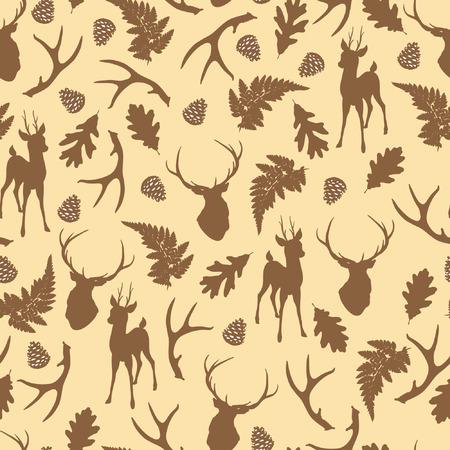 Herfst bos naadloze patroon met herten silhouet. vector illustratie Stock Illustratie