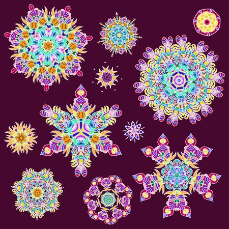 mandalas: Colorful abstract floral mandalas set. Vector illustration Illustration