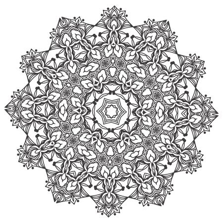 Volwassen Kleurplaten Mandala.Etnische Fractal Mandala Floral Doodle Pattern Kleurplaat