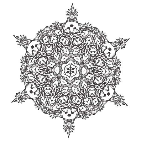 Abstract lace snowflake mandala ornament - Coloring page for adults concept. Vector illustration