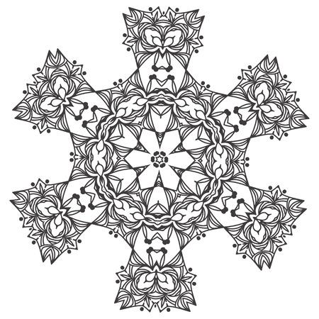 Ornamento Abstracto De La Mandala Del Copo De Nieve Del Cordón ...