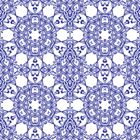 tiled: Abstract blue seamless pattern with arabesque tiled ornament. Vector illustration