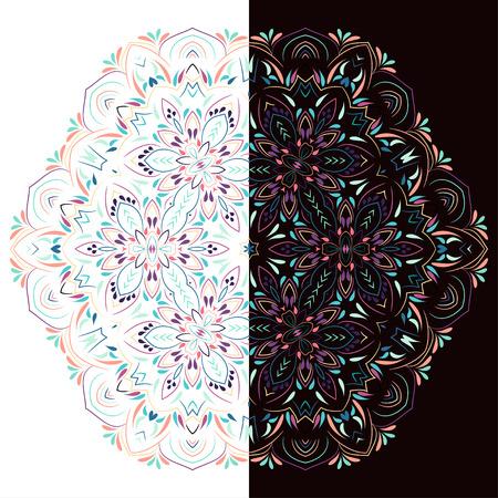Colorful hexagon floral mandala.