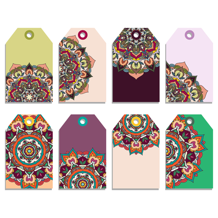 Set of gift tags with colorful mandala design. Vector illustration eps 8