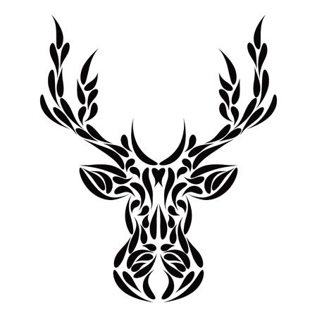 Abstract symmetric deer head ornament tribal tattoo. Vector illustration eps 8