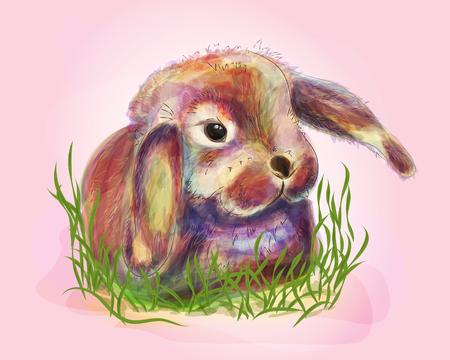Digital illustration of cute bunny in grass. Watercolor technique