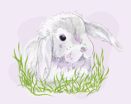 Hand drawn cute Easter bunny in pastel pink and gray colors. Watercolor effect. Vector illustration eps 10
