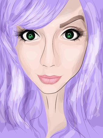 Retrato de una joven con grandes ojos verdes y cabello púrpura. técnica de la acuarela. ilustración vectorial eps 10 Foto de archivo - 69114537