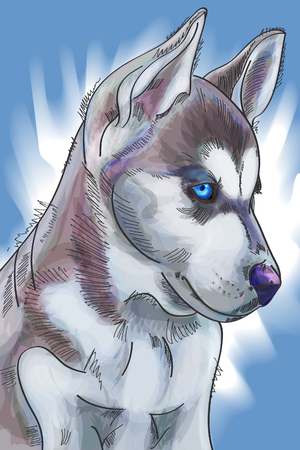 Hand drawn watercolor cute siberian Huskies puppy on blue winter background. Vector illustration eps 10