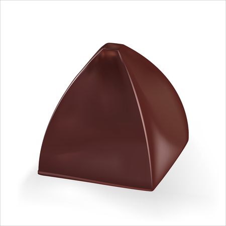 Pyramid shape chocolate candy. Vector realistic 3d illustration. Isolated On White