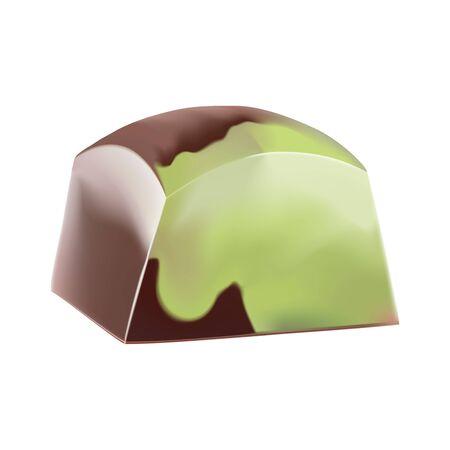 Pintado matcha té verde chocolate dulce. Vector ilustración 3d realista. Aislado en blanco Foto de archivo - 71138643