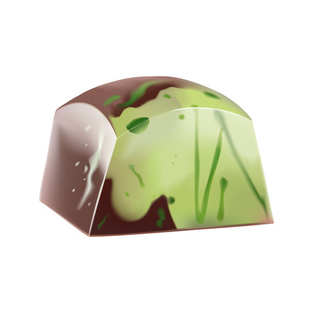 Painted pistachio chocolate candy with green splashes. Vector photorealistic 3d illustration. Isolated On White Illustration