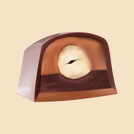 Cut chocolate candy with  hazelnut. 일러스트