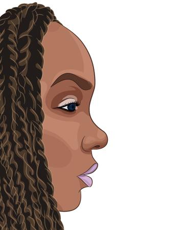 アフリカの若い女の子の漫画の肖像画。ベクトル図  イラスト・ベクター素材