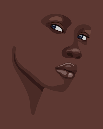 Fashion Portrait of beautiful African woman. Shadow silhouette. Vector illustration eps10