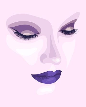 Maquillaje de la cara hermosa con sombra de ojos y lápiz labial púrpura. Retrato abstracto de la moda. Vector ilustración eps 10 Foto de archivo - 72408585