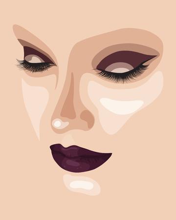 Hermosa cara de maquillaje con sombreador de ojos y lápiz labial oscuro. Retrato abstracto de la manera del otoño. Ilustración vectorial eps 10 Foto de archivo - 72408586