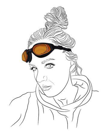Outline girl portrait with orange swimming glasses. Vector illustration 일러스트