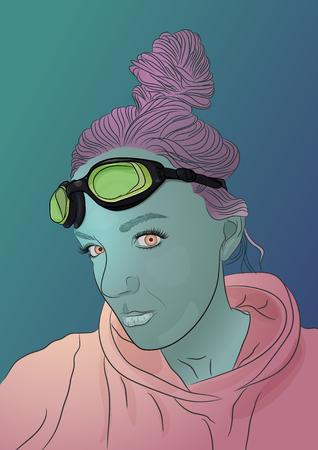Alien green skin girl portrait with pink hair. Vector illustration 일러스트
