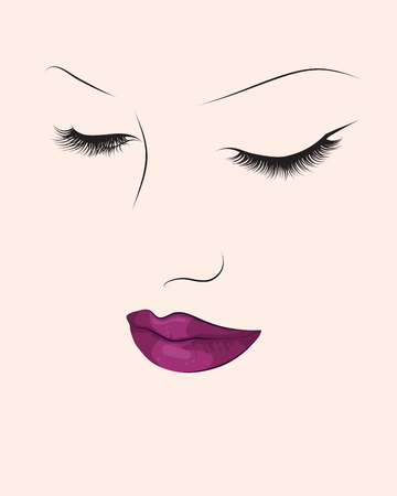 Make up fashion portrait. Abstract colorful woman face. Vector illustration eps10