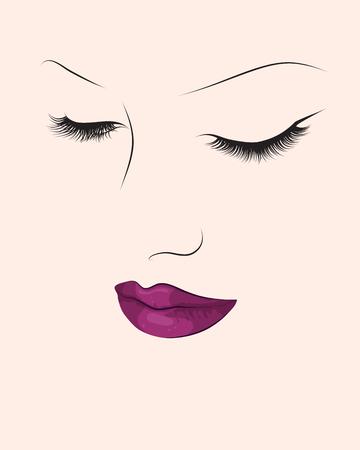 Compensar retrato de la moda. Cara de la mujer de colores de fondo. eps10 ilustración vectorial Foto de archivo - 72403247