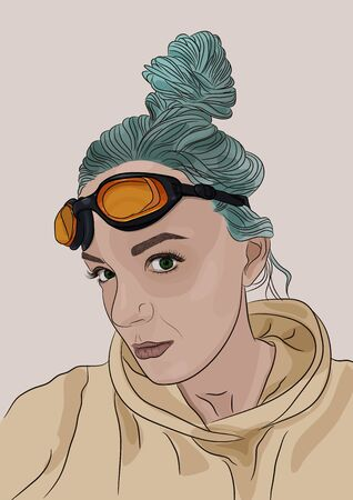 Fancy girl portrait with green hair and orange googles on a head. Vector illustration