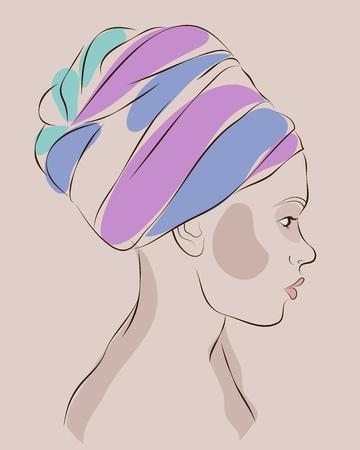 Profile portrait of african american woman in turban. Vector illustration 일러스트