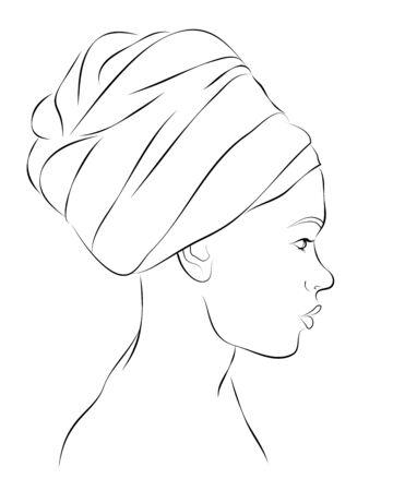 Esquema retrato de mujer en turbante. Ilustración del vector Foto de archivo - 72889151