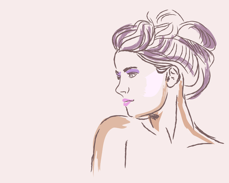 Hand drawn fashion portrait of young woman with bun hairstyle. Vector illustration 일러스트