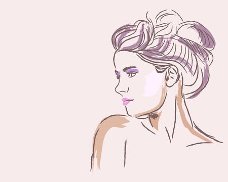 Mano dibuja el retrato de moda de mujer joven con peinado de bollo. Ilustración del vector Foto de archivo - 72889155