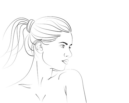 Outline portrait of beautiful woman with ponytail hairstyle. Vector illustration