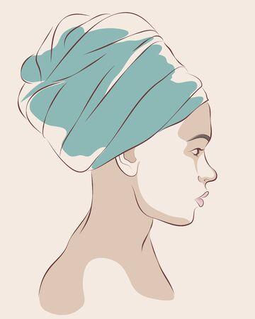 Retrato de perfil de mujer con turbante azul o una toalla. Ilustración vectorial Foto de archivo - 72889164