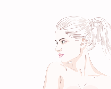 Simply portrait of young woman with ponytail hairstyle. Vector illustrattion