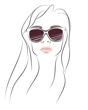 Simplemente retrato de moda de mujer en gafas de sol Foto de archivo - 72965788