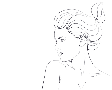 Outline Portrait Of Beautiful Woman With Bun Hairstyle Vector