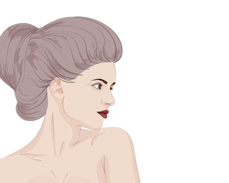 Hermoso retrato de mujer joven sensual con peinado bollo. Ilustración vectorial Foto de archivo - 72969211