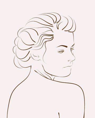 Esquema de mujer vintage retrato. Ilustración vectorial Foto de archivo - 72968128