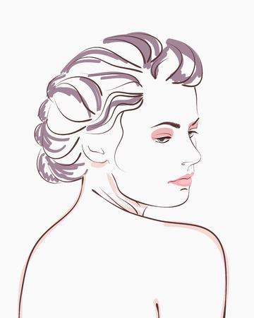 Vintage style woman portrait. Vector illustration