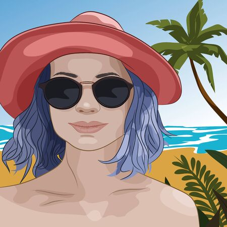 Girl on a beach. Portrait of young woman in summer hat and sun glasses with blue hair. Vector illustration 일러스트