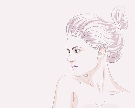 Retrato de moda desenhado à mão de jovem com penteado de pão. Ilustração do vetor Foto de archivo - 72968223