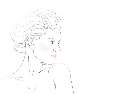 Fashion woman portrait in pastel colors. Vector illustration