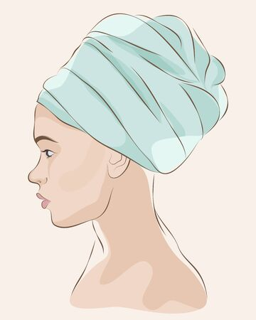 Profile portrait of woman in blue turban or towel. Vector illustration 일러스트