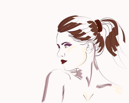 Retrato de moda dibujado a mano de mujer joven con el peinado de cola de caballo. Ilustración vectorial Foto de archivo - 72968237