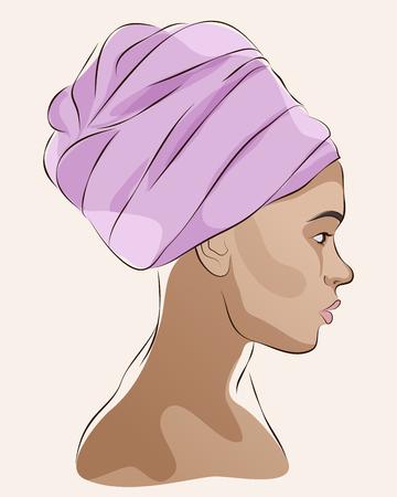 Retrato de perfil de mujer afroamericana en turbante. Ilustración del vector Foto de archivo - 72968252