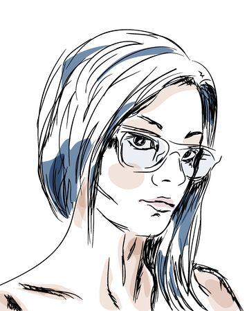 Hand drawn sketch girl portrait. Vector illustration