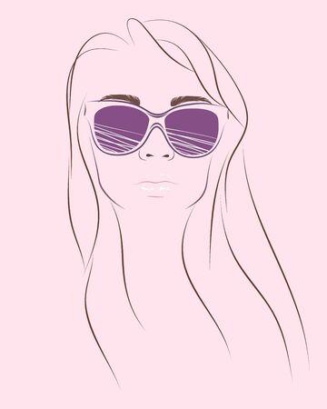 Simplemente retrato de moda de mujer en gafas de sol Foto de archivo - 72968285