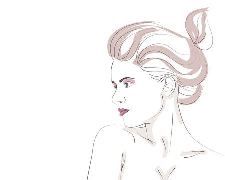 Retrato de moda dibujado a mano de mujer joven con peinado bollo. Ilustración vectorial Foto de archivo - 72944314