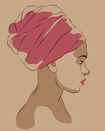 Retrato de perfil de mujer afroamericana en turbante. Ilustración del vector Foto de archivo - 72889177
